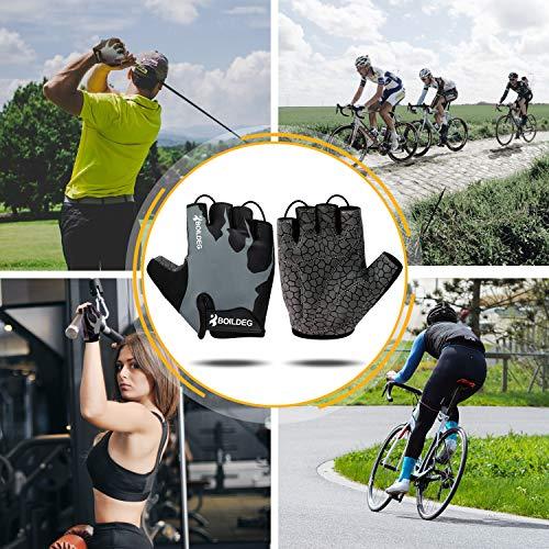 boildeg Fahrradhandschuhe Radsporthandschuhe rutschfeste und stoßdämpfende Mountainbike Handschuhe mit Signalfarbe geeiget Unisex Herren Damen (Grau, L) - 6
