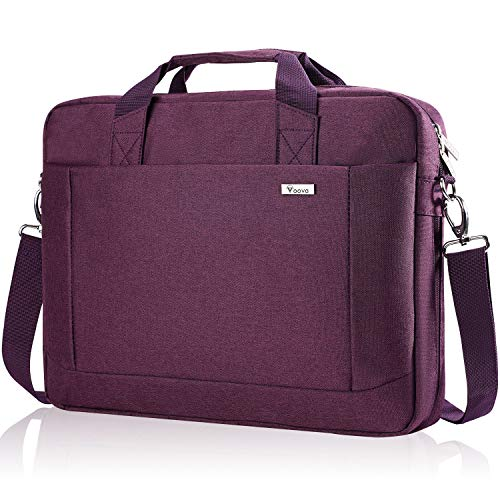 Voova Laptop Bag Case 17 17.3 Inch Computer Sleeve Messenger Bag with Shoulder Strap Expandable Waterproof Business Briefcase with Tablet Pocket for Men Women Travel School Lawyer-Purple