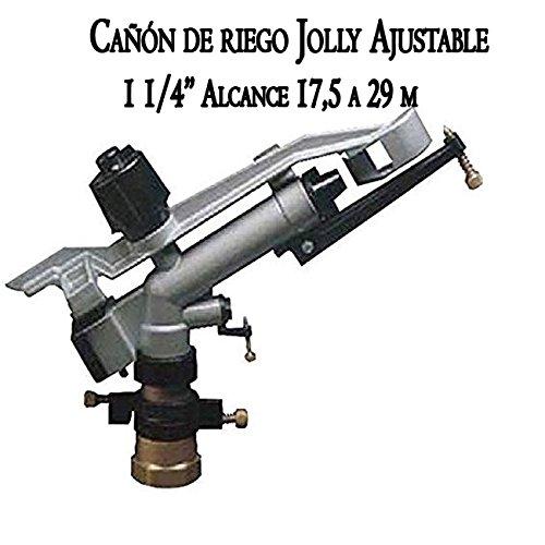 Suinga Cañón de riego Largo Alcance Jolly 1 1/4'. Ángulo de riego Ajustable. Alcance 17,5 a 29 MTS. Presión de Trabajo 1,5 a 5 Bar. Conexión 1 1/4' Hembra. Fabricado en Metal