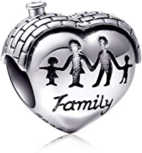 EMOSTAR Sterling Silver Family Charm House Charm Heart Shape Love Charm Family Hand Charm for Bracelets