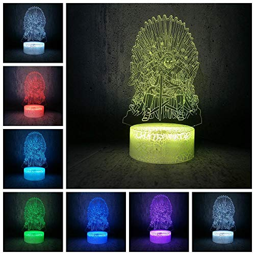 Lampe D'Illusion 3D Led Veilleuse House Stark Of Winterfell Arya Stark Père Cartoon Ampoule Film Fans Chambre Décor Teen Sleep Gift