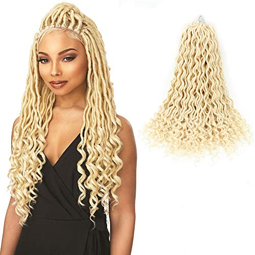 Goddess Locs Crochet Hair Wavy Faux Locs with Curly Ends 100% Quality Kanekalon Fiber Synthetic Braiding Hair Extension (6Packs/Lot,20inch,613)