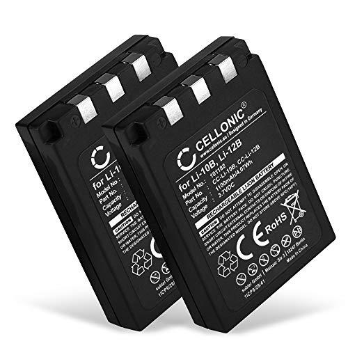 CELLONIC 2X Batteria Compatibile con Olympus C-50 C-5000 C-470 C-60 C-70 C-7000 C-760 C-765 C-770 Mju 810 800 600 500 410 400 300 1000 X-500 Stylus 400 FE-200, LI-10B LI-12B 1100mAh accu Ricambio
