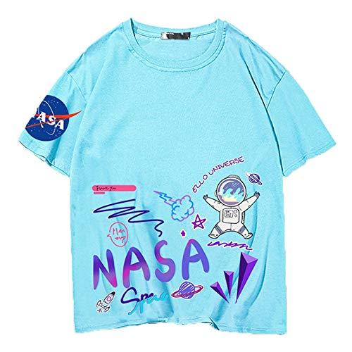 NASA Imprimir camiseta de manga corta para hombres Verano para hombre Cómodo y casual Todo-partido Hombro suelto Hip-hop Cuello redondo Cuello de algodón Pareja de algodón Hombres y mujeres Mangas cor