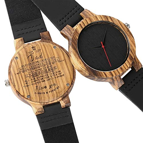 DYH&WW Relojes Reloj de Cuarzo Amantes Hecho a Mano Reloj de Madera Natural Regalo del día de San Valentín Ocio, para mi Novio
