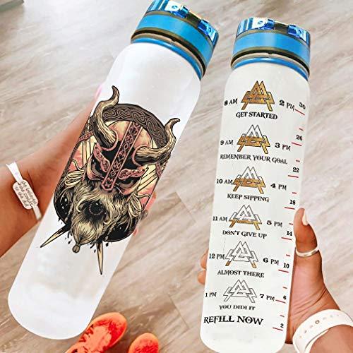 Bestwe Botella de agua vikinga Odin Runen Tritan con marcador de tiempo, ligera botella de deporte para deportes al aire libre, escuela, fitness, color blanco, 1000 ml
