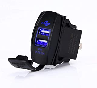 Switchtec 4.2 AMPS-Fast Dual USB Charger Rocker Switch Style Blue LED Back-lit for Boats, Polaris RZR 900, RZR 1000, Ranger, RV, Can Am Spyders, Can Am Maverick, Can AM SxS, Golf Cart, Jeep Wrangler