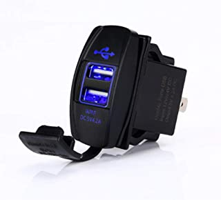4.2 AMPS-Fast Dual USB Charger Rocker Switch Style Blue LED Back-lit for Boats, Polaris RZR 900, RZR 1000, Ranger, RV, Can Am Spyders, Can Am Maverick, Can AM SxS, Golf Cart, Jeep Wrangler