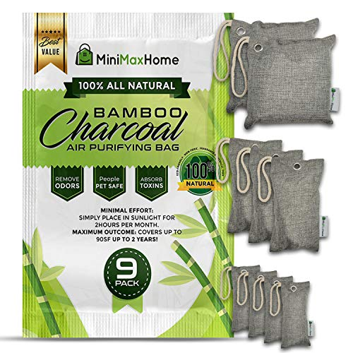 9 Pack Activated Bamboo Charcoal bags odor absorber - Home air purifier - Shoe Pet smell deodorizer - House moisture eliminator - Room Closet freshener - Car scent neutralizer - Fridge filter