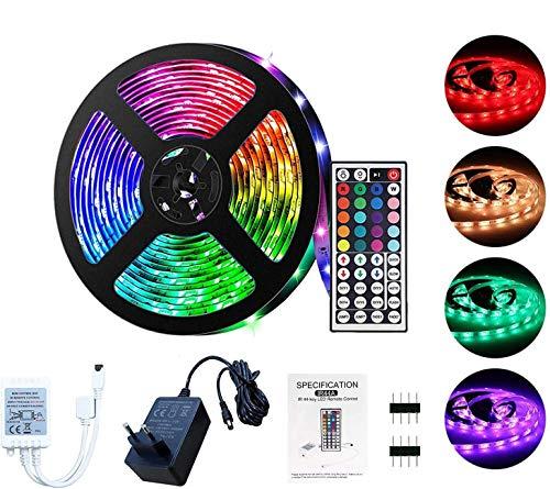 LSEEKA Ruban LED 5/10M Bande LED 5050 RGB, TV Bande LED Multicolore Peut-Découpé Néon Decor Rubans lumières 20 Couleurs et 6 Modes Décor pour Maison Cuisine Soirée Bar, Noël(5m)