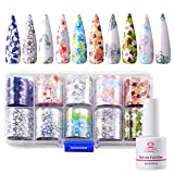 Makartt Nail Foil Nail Art Foil Glue Gel with Transparent Flower Foil Stickers Set Nail Transfer Tips Foil Kit Nail Art Accessories Manicure DIY 15ML 10PCS (2.5cm100cm) Stickers Nail Lamp Required