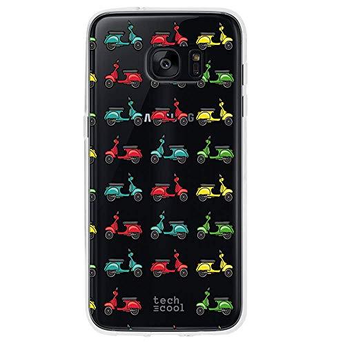 Funnytech Custodia in Silicone (TPU) per Samsung Galaxy S7 Edge [Design Esclusivo, Stampa ad Alta Definizione] Cover, Case [Vespas transparentes]