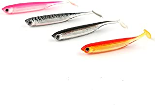 JOHNCOO Fishing Lure 3D Eyes Shad Lure Soft Bait Soft Silicone Bait Swimbaits Plastic Lure Pack of 24