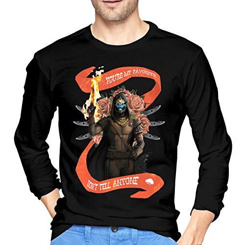 De-STI_NY 2 Ca-Yde-6 Camiseta de algodón para Hombre Camiseta cómoda de Manga Larga con Cuello Redondo, Grande, Color Negro