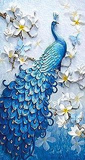 DIY اللوحة الماسية الطاووس، التطريز بالالماس الفسيفساء الماسي للغرزة المتقاطعة ديكور المنزل (60 × 90 سم)
