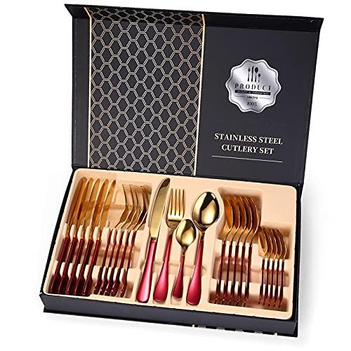2 4 PIEZAS Juego de vajillas de oro rojo Tenedor Cuchilla Cuchilla Cuchilla Set de cubiertos 18/10 Cena de acero inoxidable Cena de vajilla Detera caja de regalo de madera ( Color : Red Gold 24pcs )