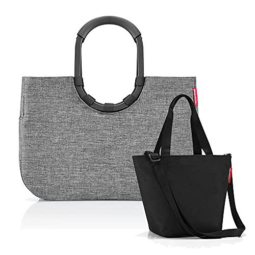 Set aus reisenthel loopshopper L und reisenthel Shopper XS - Einkaufskorb mit passendem Mini-Shopper, Frame Twist Silver + Black