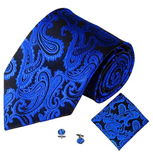 Smonke 3PCS Classic Gentleman Männer Party Krawatte Tasche Quadratisches Taschentuch Manschettenknopf Party Männliche Krawatte One Size