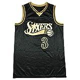 Camiseta de Baloncesto Sixers # 3 Iverson para Hombre, Ropa Deportiva Camiseta sin Mangas Unisex Chalecos Tops Camiseta de Baloncesto Transpirable (S-XXL)-S