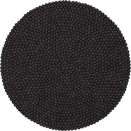 myfelt Kuno Filzkugelteppich — 50cm, rund — Anthrazit