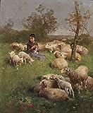 Xpboao Pintar por números para Adultos - Niña pastoreando ovejas - Kit de Pintura al óleo sobre Lienzo - para Regalos de decoración de la Pared del hogar - 40x50cm - Sin Marco