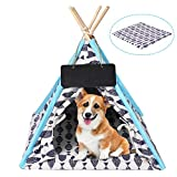 SIOMK Dog Cat Tent Teepee, Dog (Puppy) Cat Bed with Soft Cushion, 24 Inchs Cute Pet House Cave for Indoor, 100% Canvas (Washable) Easy Install Portable Tent for Cat Dog Up to 15lbs with Blackboard