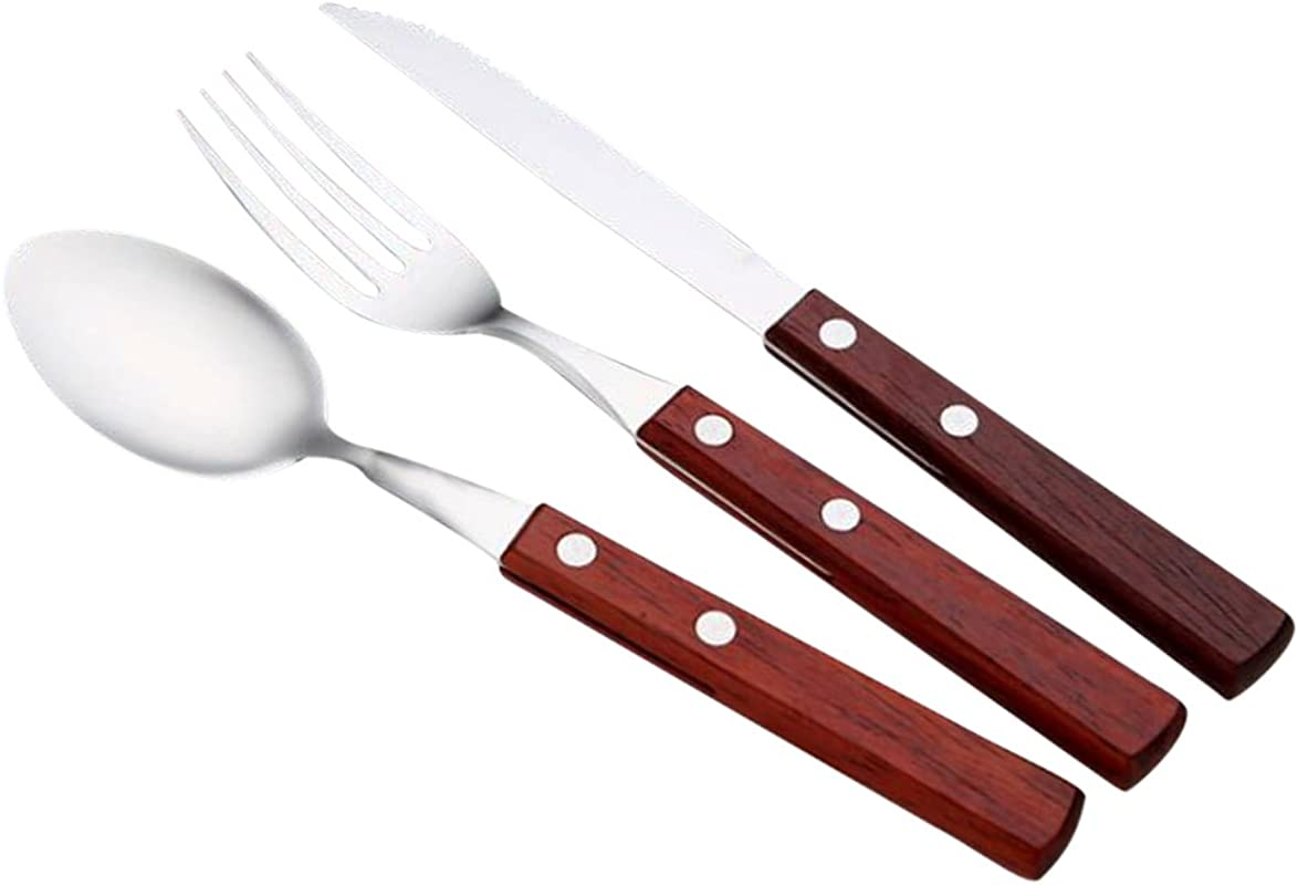 12Pcs Wooden Handle Stainless Steel Cutlery Set Forks Spoons Knives Flatware Set Service For 4
