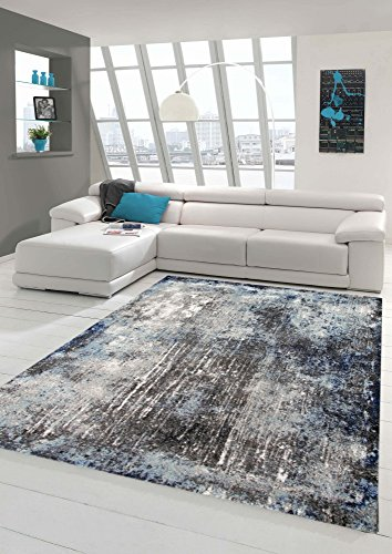 Designer und Moderner Teppich Wohnzimmerteppich in Blau Grau Creme Größe 80x150 cm