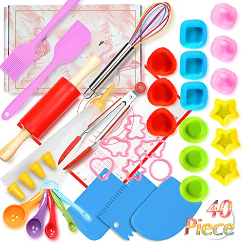 Shacoryze Cooking and Baking Set 40 Pcs with Gift Box, Real Kitchen Utensils Kit for Teens, Gift for Girls&Boys, Nonstick Rolling Pin Silicone Pastry Mat Cupcake Molds