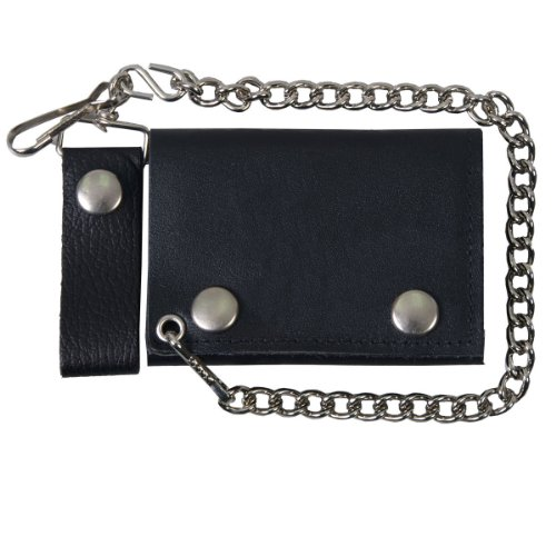 "Hot Leathers WLB1001 Black, 4"" Classic Black Wallet with Chain (Black, 4"")"