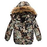 IMJONO Garçon Blousons, Mode Enfants Manteau Garçons Filles Épais Manteau Rembourré Veste d'hiver Vêtements (K-Camouflage, 4-5 Ans)
