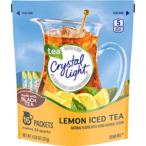 Crystal Light Ice Tea, Natural Lemon, 16 Count, 4.26 Ounce (Pack of 1) (208138)