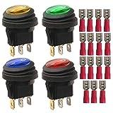 Gebildet 4pcs 220-230V/10A SPST 3 Pins 2 Position EIN/Aus Rot/Blau/Gelb/Grün LED-Licht Beleuchtet Wasserdichter Kippschalter Kippschalter (15pcs Kabelstecker)