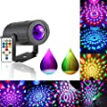 Ganeed Party Lights Disco Ball Strobe Light 7 Lighting Color LED Stage Laser Projector with Remote Control for Car Home Birthday Wedding Parties Show Pub Club
