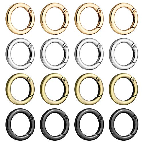 Hysagtek 16 Pcs Round Carabiner Metal Spring Key Ring Zinc Alloy Spring O Ring Snap Hooks Clip Trigger Spring Keyring Buckle for Bags, Purses, Key Chains Buckle, 1 Inch, 4 Colors