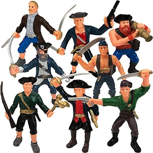 ArtCreativity Pirate Action Figure Playset, Set of 8 Legendary Plastic Figures in Assorted Poses,...