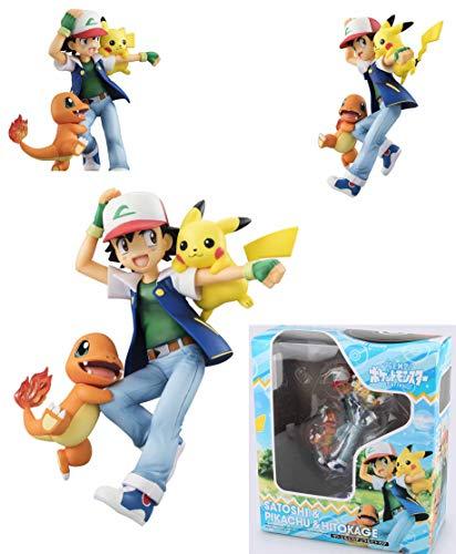 RWF PokÉMon Anime Action Figure Ash Ketchum Con Pikachu E Charmander Figure In PVC Modello Da Collezione Personaggio Statua Giocattoli Ornamenti Per Il Desktop
