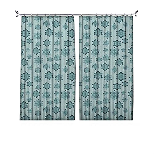 Cortina de oscurecimiento de habitación, diseño de copos de nieve abstractos ornamentados en colores pálidos, para Navidad, dormitorio, sala de estar, 172 x 172 cm, color azul pálido, gris