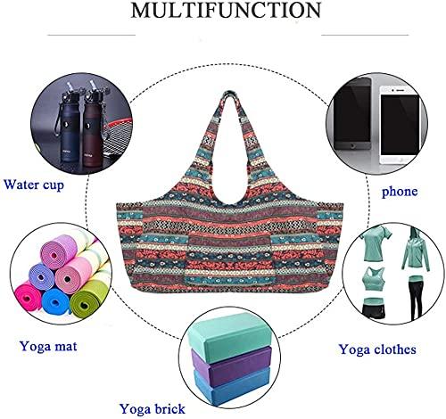 Anjing Large Capacity Bohemian Ethnic Style Print Canvas Yoga Bag Yoga Mat Bag with Pockets
