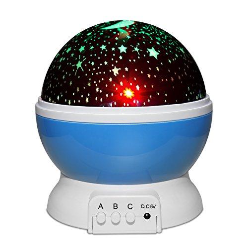 Yasolote Lampada Proiettore Stella e Luna per Bambini di Cameretta Lampada Rotante Crea un'Atmosfera Cielo Magica Lampada di Illuminazione con USB Luce Notturna per Camera da Letto dei Bambini Perfetta Regalo per Bimbi (Blu)