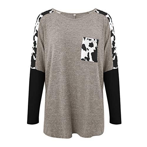 Tops de Mujeres Europeas y Americanas Moda Estampado de Leopardo Costura Bolsillos Laterales Camiseta Decorativa de Manga Larga Small