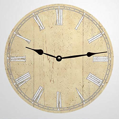 Reloj de pared redondo de madera pálida de color amarillo victoriano, decoración de reloj de madera rústica para el hogar, cocina, dormitorio, baño, oficina, sala de estar, comedor.