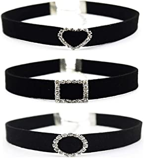 Daimay 3 PCS Black Charm Choker Set Velvet Choker Necklaces Ribbon Gothic Collar Classic with Glittering Faceted Stones for Women Girls
