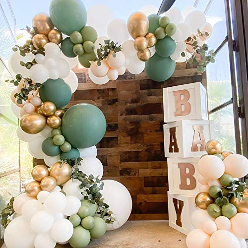 Oopat DIY Olive Sage Balloon Arch Garland Kit for Sage Party Boho Bridal Shower Baby Shower Wedding Birthday Eucalyptus Sign Backdrop Engagement Bridal Shower Bachelorette Party Decoration