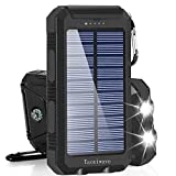Solar Charger Solar Power Bank 20000mAh Waterproof Portable External Backup Outdoor Cell Phone Battery Charger with Dual LED Flashlights Solar Panel for Compatible with All Smartphone (Black)