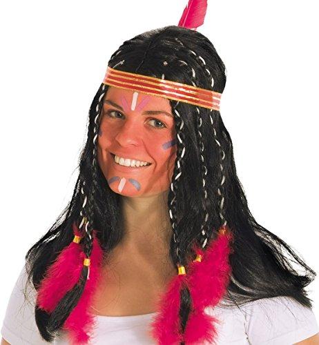 Perücke Indianer Mädchen Kleine Feder Damen