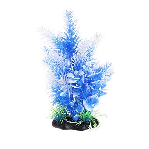 fuwahahah Aquarium-Pflanzen, künstliche blaue Blume, Gras mit Sockel