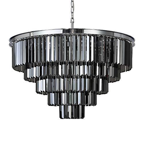 "MEELIGHTING Chrome Crystal Modern Contemporary Chandeliers Pendant Ceiling Light 4-Tier Chandelier Lighting for Dining Room Living Room Bedroom Girls Room 9 Lights Dia 23.6"""