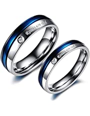 Tatanium Steel White and Blue Diamond Wedding Gift Anniversary Present Couple Ring Set for Male us10 and Female us8 cr6-4