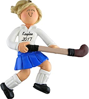 Calliope Designs Field Hockey Player Personalized Christmas Ornament - Female -Blonde Hair - Handpainted Resin - 4.5